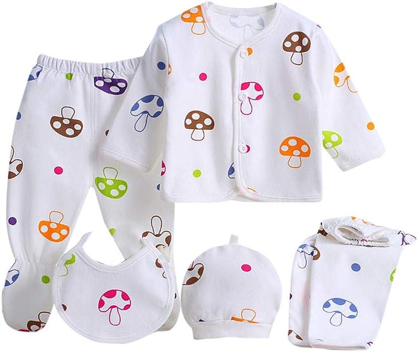 Value Pack Recién Nacido Bebé, LANSKIRT 12PCS Bebé Niña Niño Dibujos Animados Manga Larga Tops + Sombrero + Dos Pantalones + Conjunto de Traje Babero