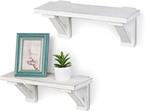 MyGift 17-Inch Vintage White Wood Wall-Mounted Shelves, Set of 2