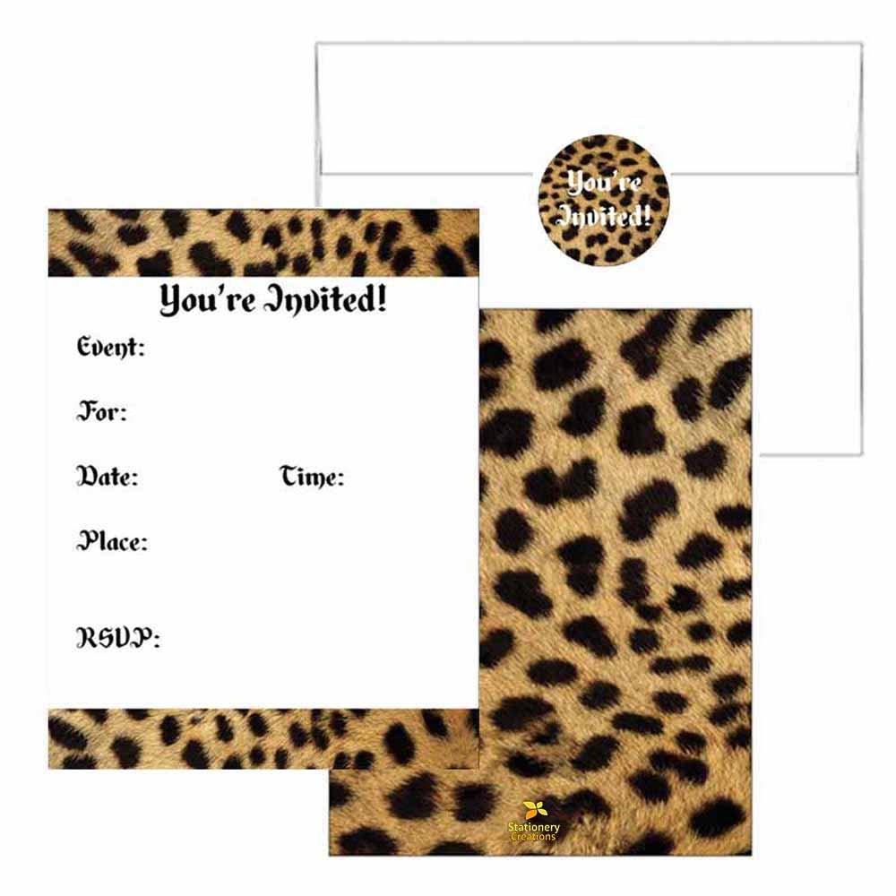 Amazon.com: Cheetah Print Invitations - Animal Print Design - Party ...