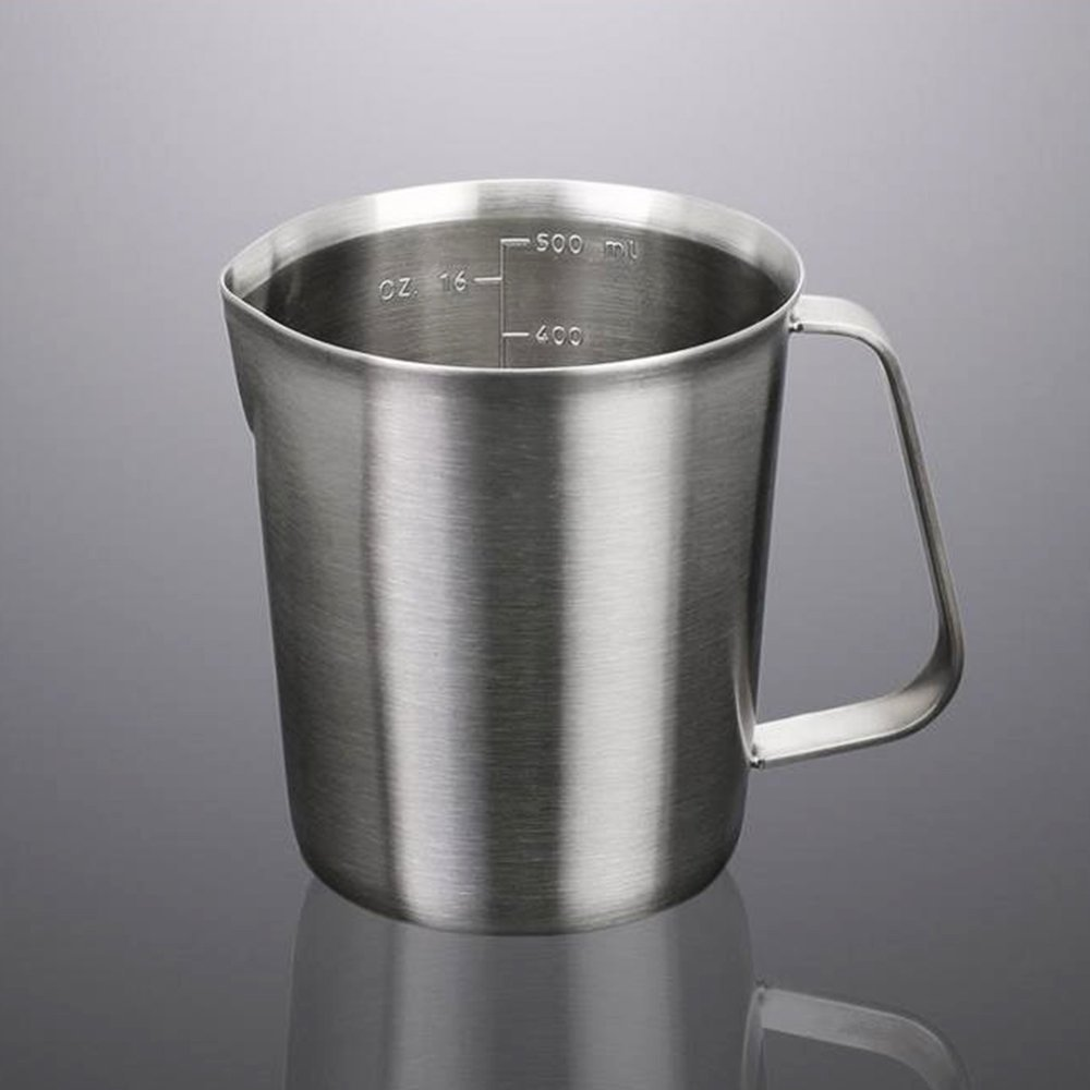 Addfun Milk Pitcher, reg;Stainless Steel Milk Cup Milk Frothing Pitcher Measuring Cup,1000ML Fandy Life