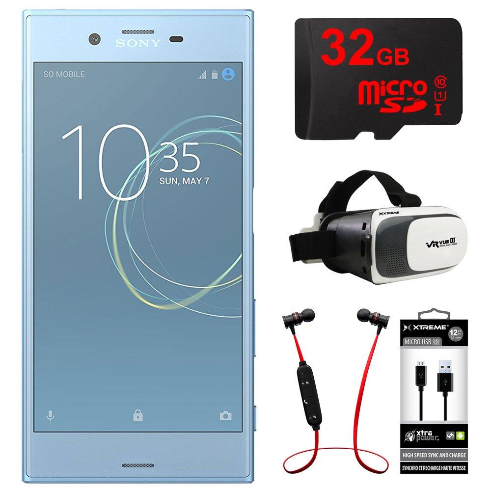 Sony Xperia XZs 64GB 5.2 Dual SIM Smartphone Unlocked-Blue (1307-9724) + 32GB Bundle Includes, 32GB Memory Card, Fusion Bluetooth Headphones, VR Vue II Virtual Reality Viewer & MicroUSB to USB Cable