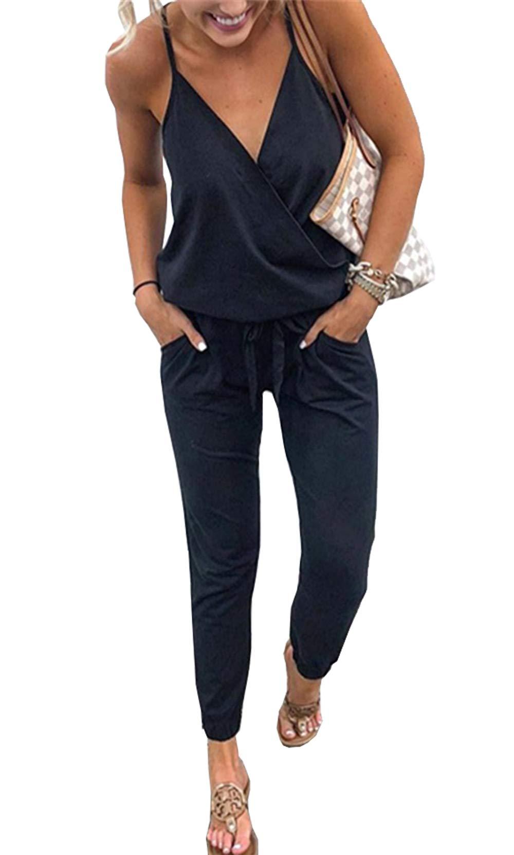 PRETTYGARDEN Women's Sexy Deep V Neck Spaghetti Strap Drawstring Waist Jumpsuit Romper with Pockets by PRETTYGARDEN