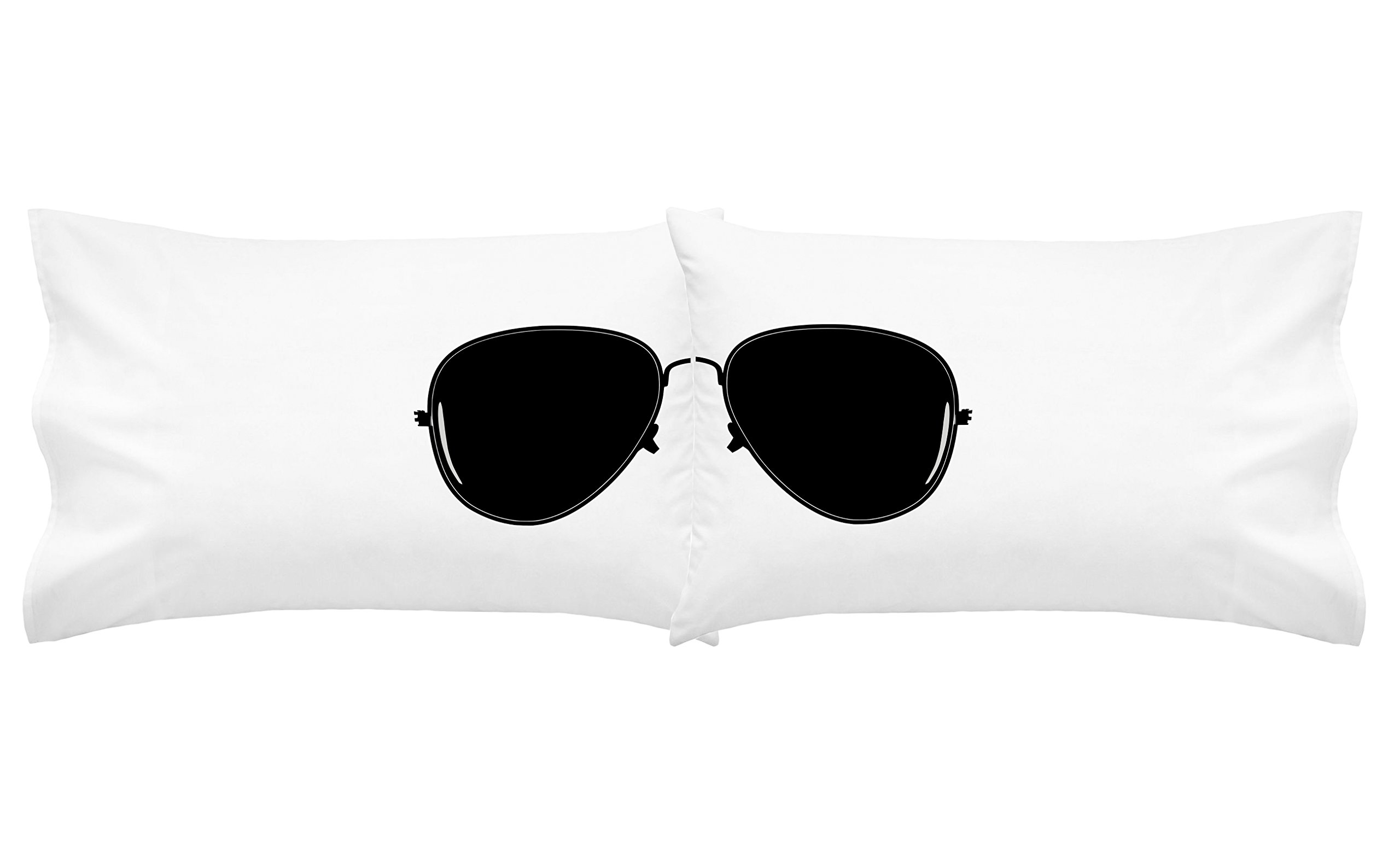 Oh, Susannah Aviator Sunglasses Pillowcases (White and Black) Pilot Bedding College Dorm Room Pillow Cases Mirrored Aviator Appearance (2 20x30 Queen/Standard Size Pillowcases)
