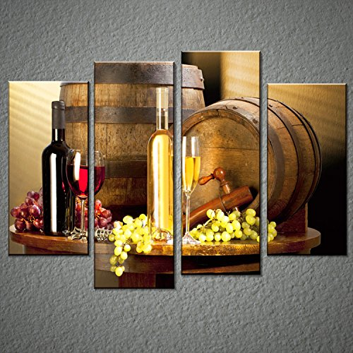 Grape and Wine Canvas Wall Art- Framed Wine Canvas Print Art for Kitchen, Bar, Restaurant Decoration-Nuolanart-P4S001 (Art Framed Wall Kitchen)