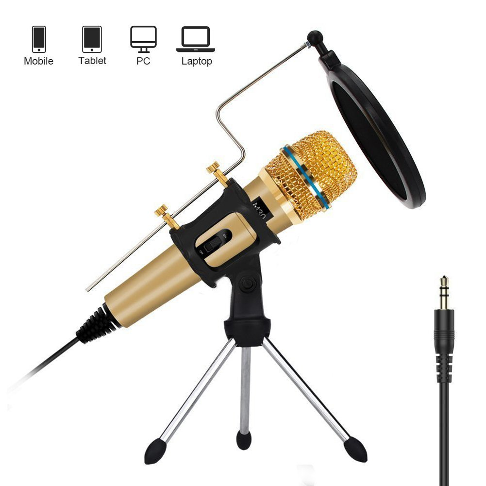 Professional Condenser Microphone,3.5mm podcast Microphone Recording Studio For Computer Mic PC Iphone Ipad Laptop Phone Youtube Karaoke Singing Gaming Online Chat by JINHI