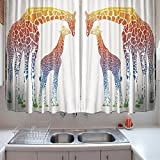 oFloral Kitchen Curtains Giraffe Giraffe Rainbow African Animal Multi Kitchen Curtains Window Drapes 2 Panels Set for Kitchen Cafe 55 W X 39 L Inches
