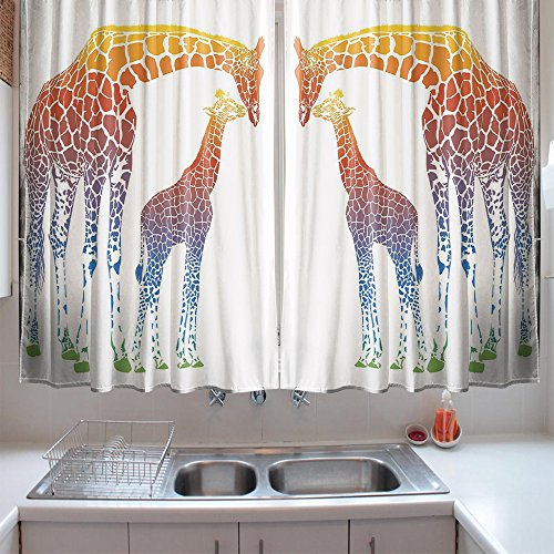 oFloral Kitchen Curtains Giraffe Giraffe Rainbow African Animal Multi Kitchen Curtains Window Drapes 2 Panels Set for Kitchen Cafe 55 W X 39 L Inches by oFloral