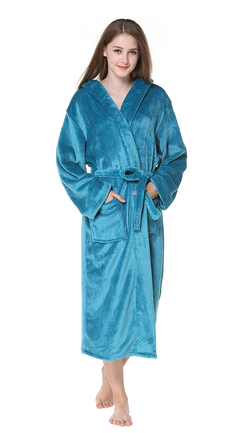 Honofash Bathrobe Women Dressing Gown Towelling Hooded Terry Fluffy