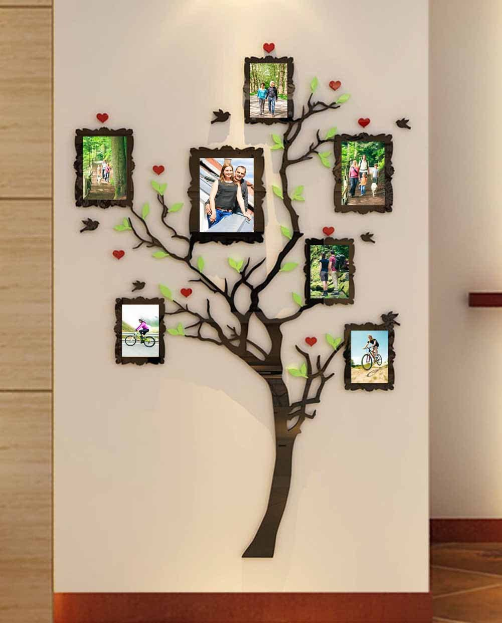 Acrylic Wall Stickers, 3D Crystal Wall Decals- Family Tree with Frames (Small)