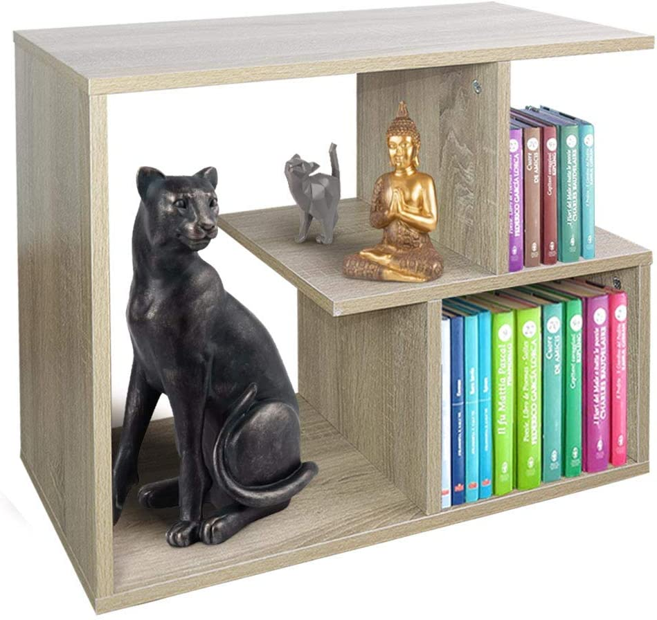 BAKAJI Librería baja estantería de 5 estantes de madera melamínica mesa lateral sofá diseño moderno para salón, salón, casa u oficina (beige)
