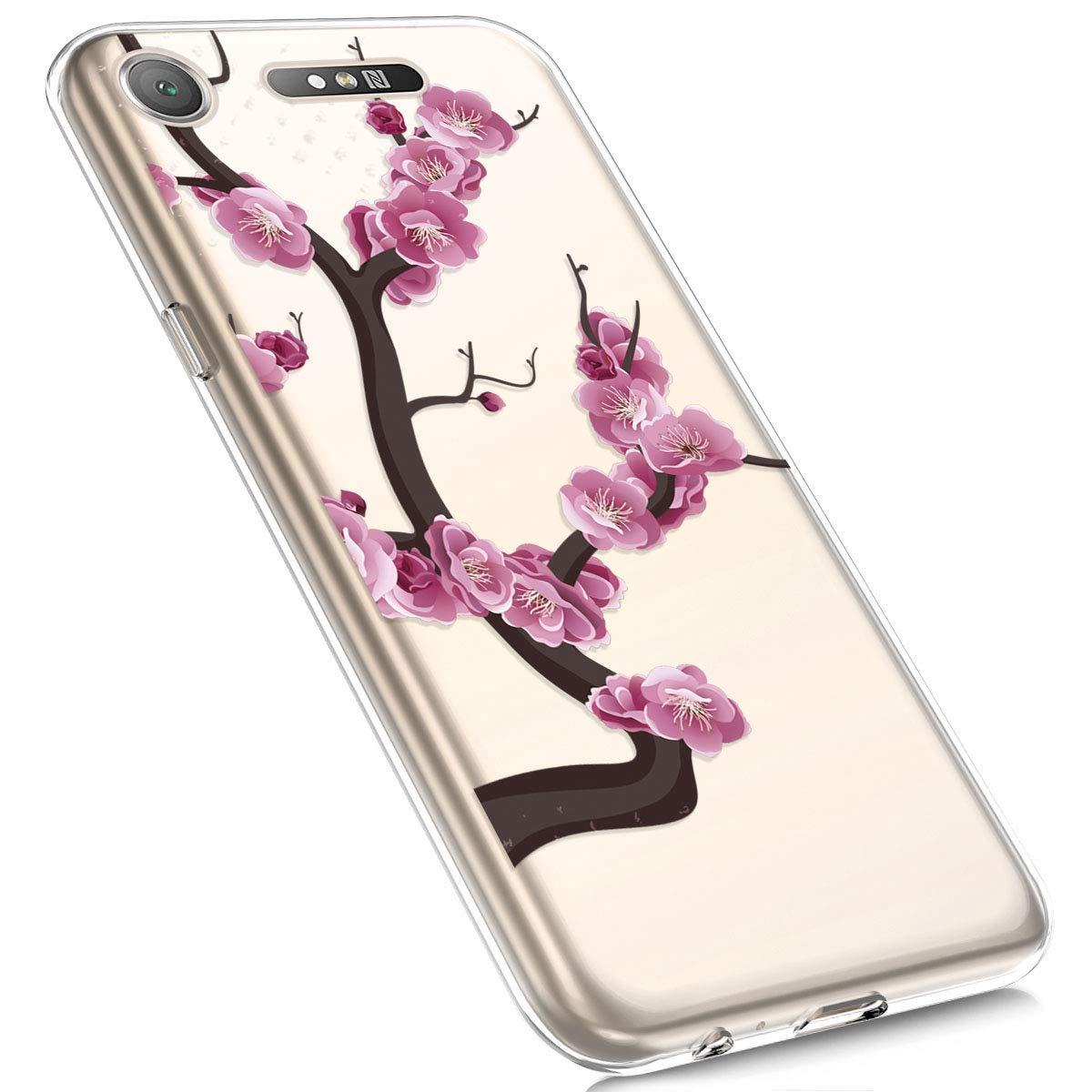 Felfy Kompatibel mit Xperia XZ1 H/ülle,Kompatibel mit Xperia XZ1 Handyh/ülle Transparent Silikon Schutzh/ülle Elegant Muster Ultrad/ünn Weich Gel Kristall Klar Silikonh/ülle Sto/ßfest Schlank Cover Case