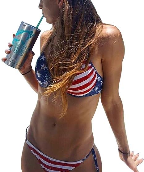 8c19123f35 AvaCostume Womens Patriotic American Flag Stars and Stripes Push UP Bikini  Swims