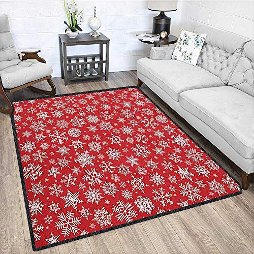 Red Non-Slip Area Rug Pad,Various Different Snowflakes with Rich Details Festive Christmas Season in Wintertime No Chemical Odor Red White 67