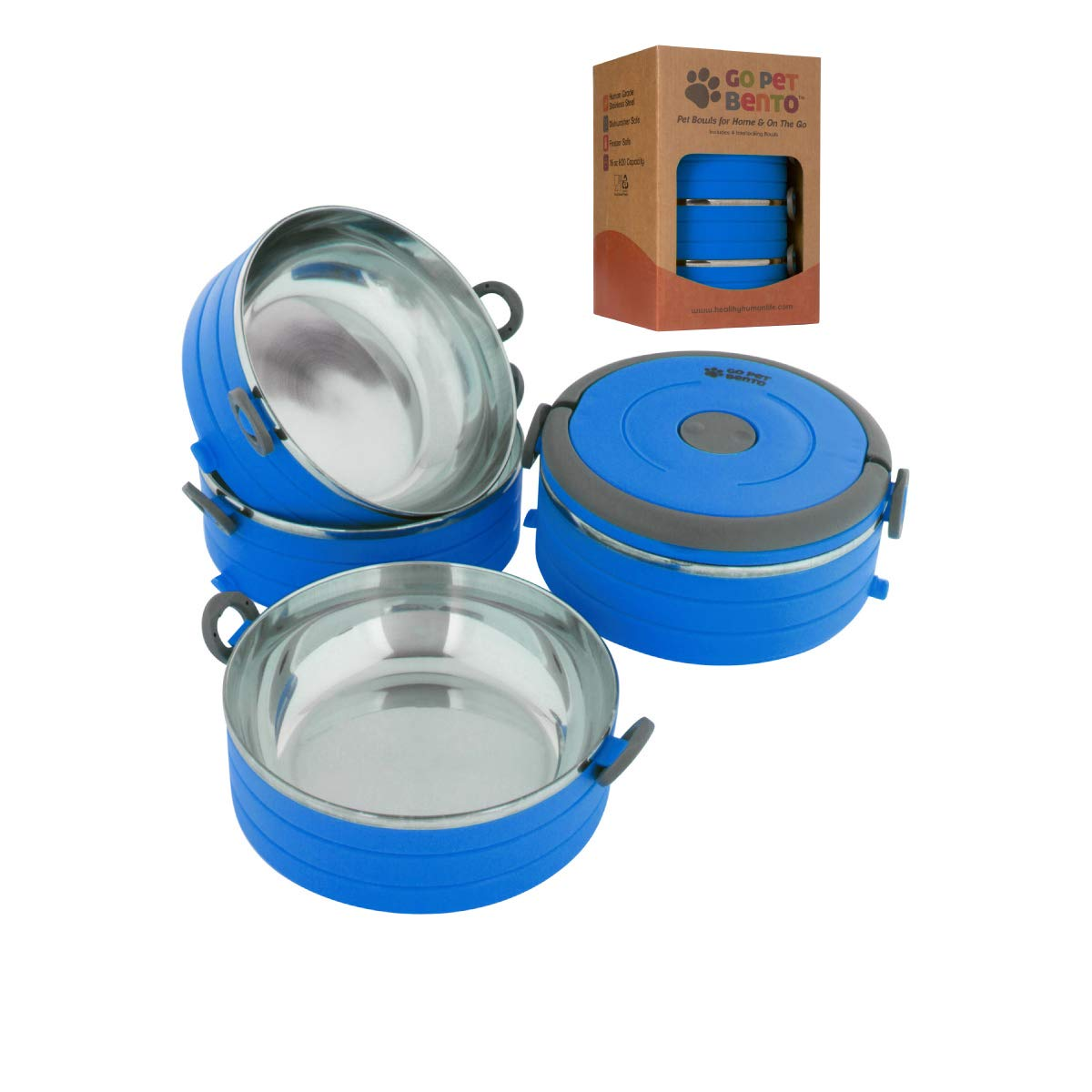 Healthy Human Portable Dog & Pet Travel Bowls with Lid - Human Grade Stainless Steel - Ideal for Food & Water - Blue - 4 Bowl Set