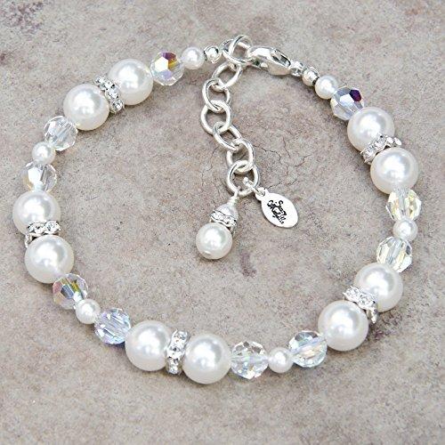 Adjustable Bracelet with Custom Color Swarovski Crystal Simulated Pearls and Rhinestones (Bracelet Pearl Custom)