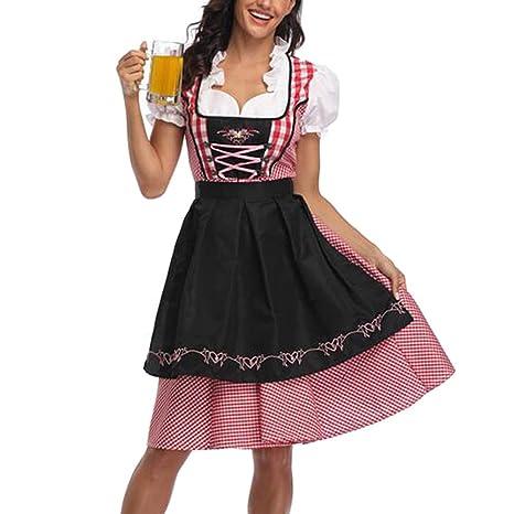 Ladies Dirndl Dress German Oktoberfest Bavarian Beer Wench Costume Maid Fancy UK