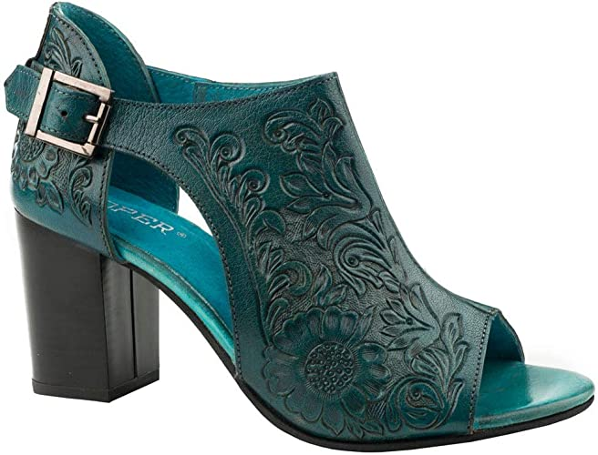 Roper Mika Closed Back Turquoise Floral Tooled Leather 7