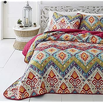 Amazon Com 3 Piece Medallian Themed Quilt King Set