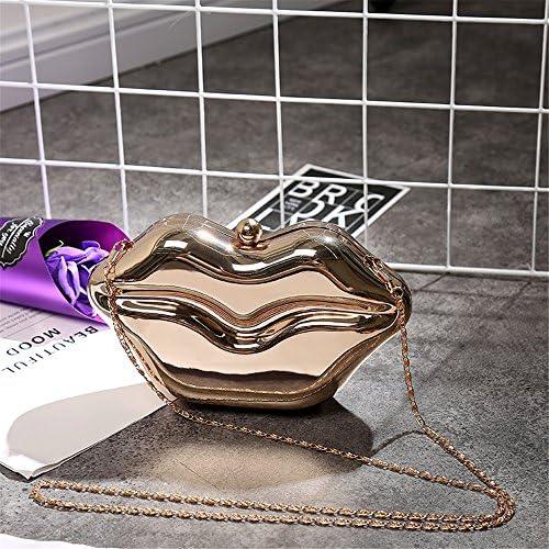 Pochette e Clutch da Donna Borsa a Forma di Labbra Borsa in Metallo Borsa a Forma di Donna