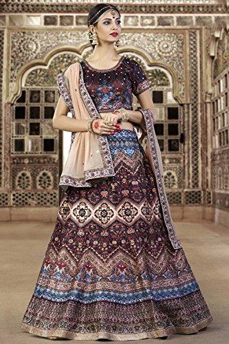 PCC Indian Women Designer Wedding brown Lehenga Choli K-4571-40085