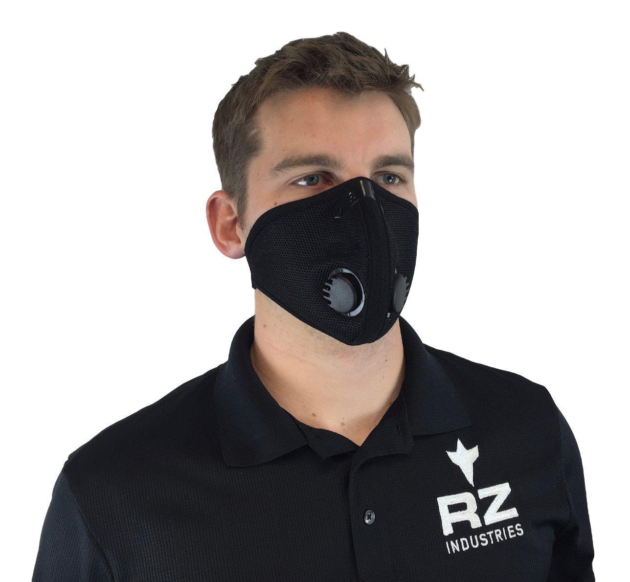 RZ Dust/Pollution Mask Bonus Pack w/5 Laboratory Tested Filters, Model M2, Mesh, Black, Size Regular/Large