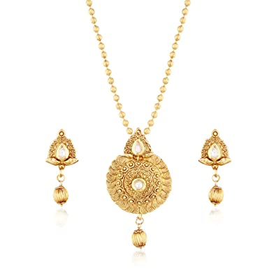 Buy i jewels gold plated traditional pendant set with designer chain i jewels gold plated traditional pendant set with designer chain for women ms108w aloadofball Images