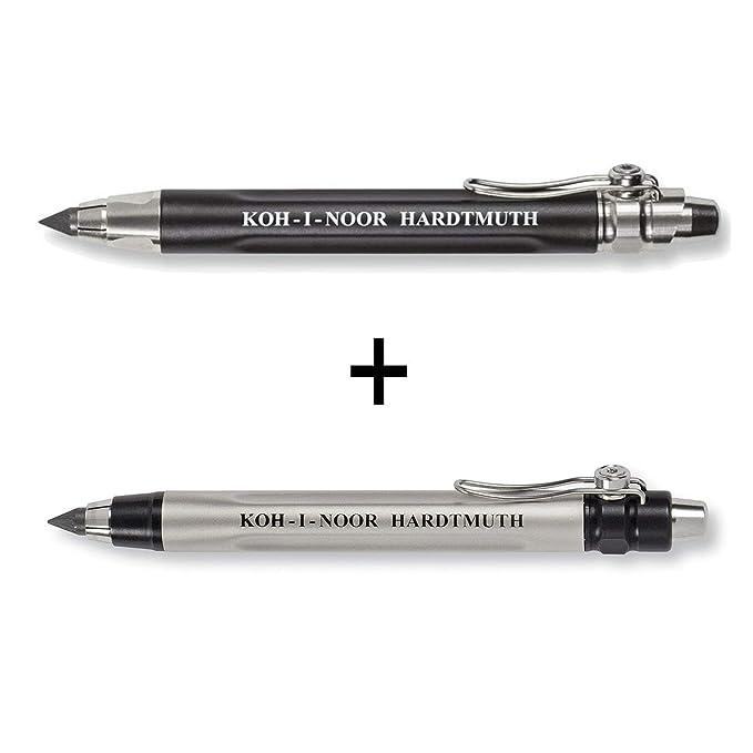 KOH-I-NOOR 5311 und 5312 - Lápiz mecánico de metal con embrague mecánico para minas 5.6 mm -juego de 2, negro y plata: Amazon.es: Oficina y papelería