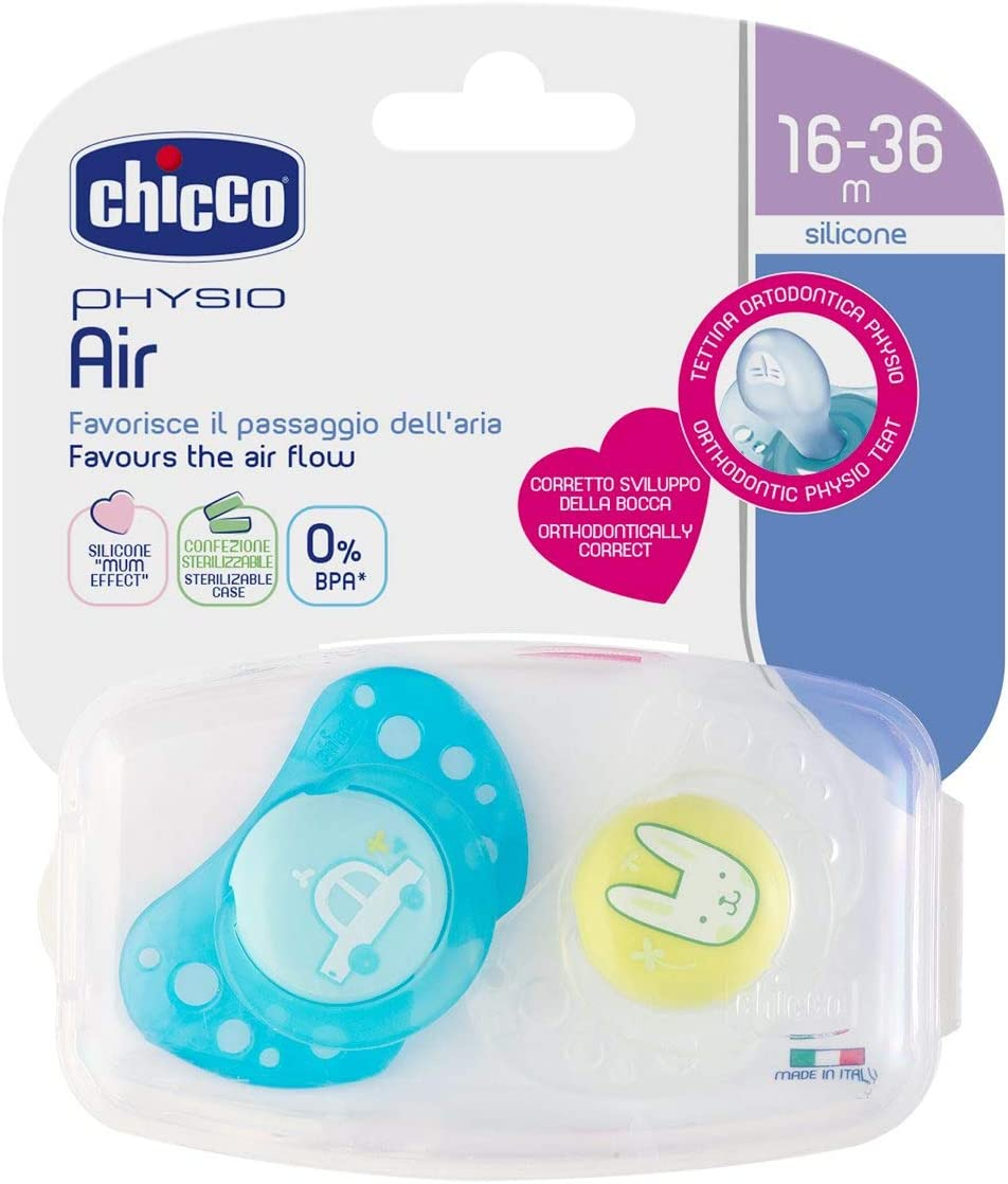 Chicco Physio Air Sucette en Silicone 2 Pi/èces 0-6 Mois Couleurs Assorties