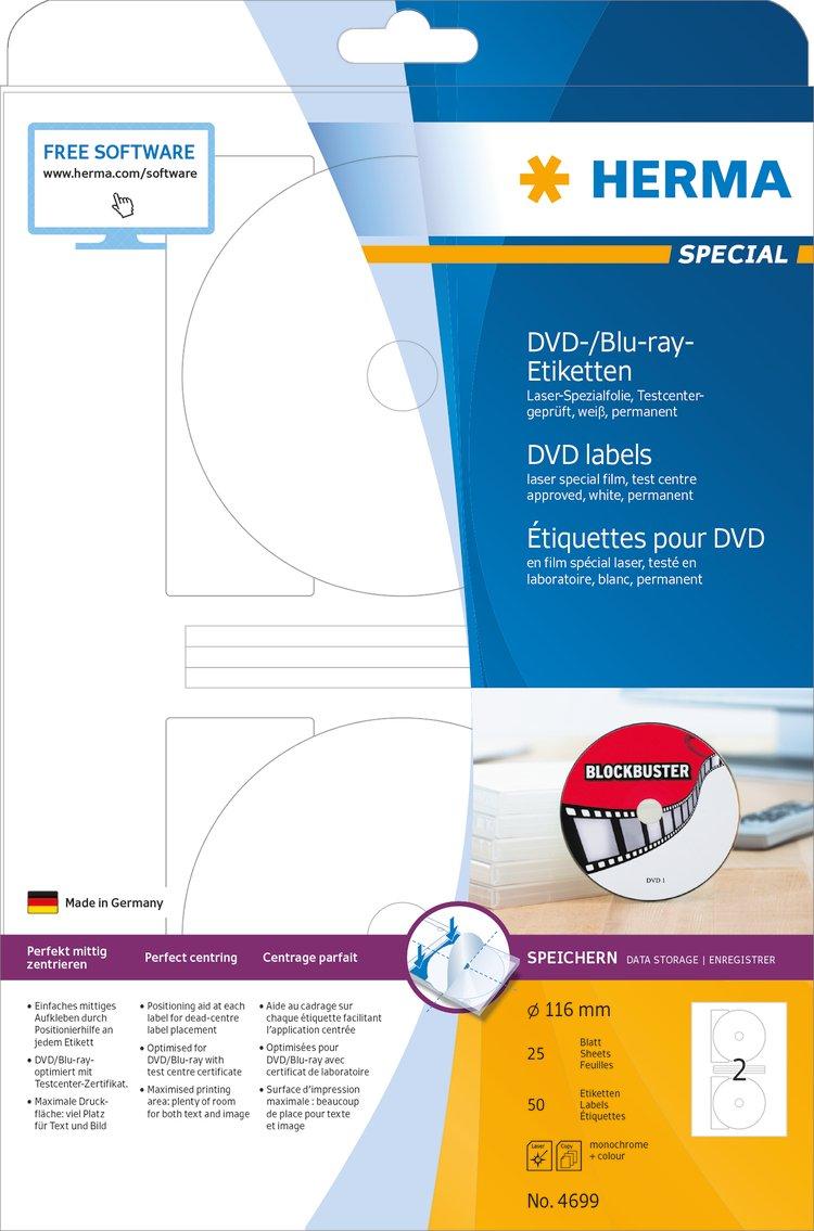 HERMA 4699 DVD/Blu-ray labels Maxi A4 Ø 116 mm white film matt 50 ...