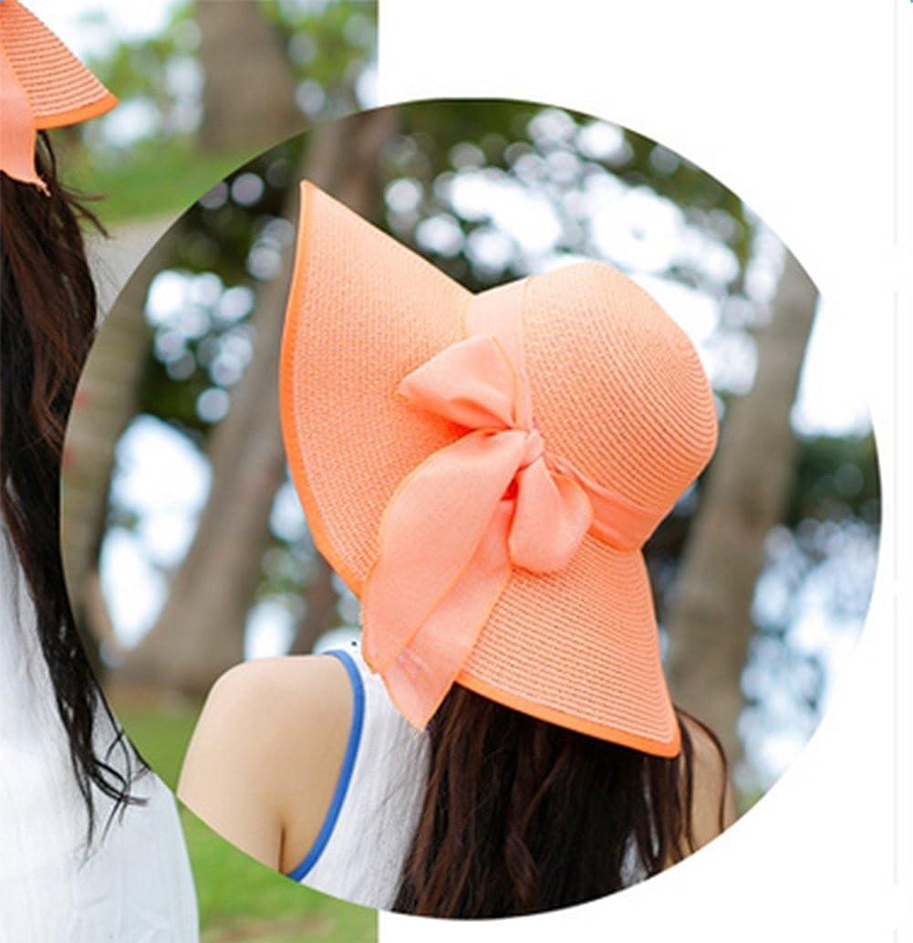 Leisial Verano Sombrero de Paja Sombrero de Playa de Sol Plegable Sombrero de Ala Ancha para Mujer,Color Caqui