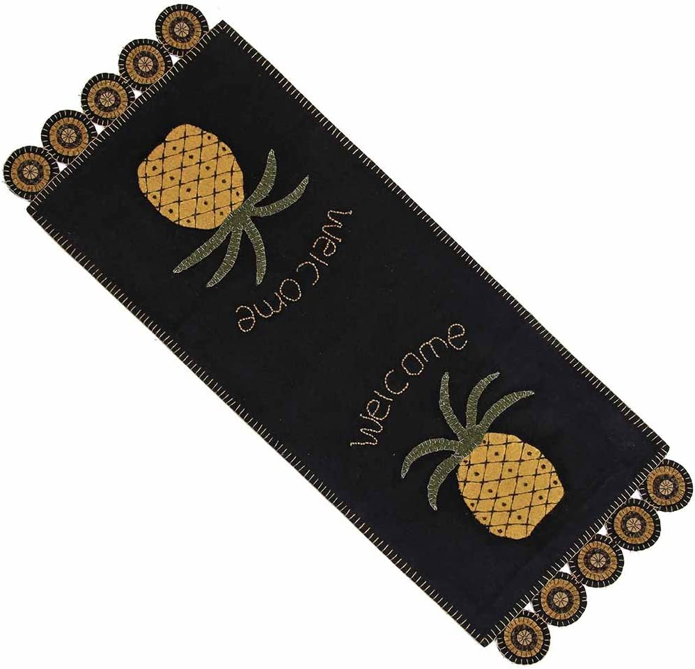 Home Collection by Raghu Pineapple Welcome Table Runner, TableRunner, Black