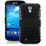 JKase DIABLO Series Tough Rugged Dual Layer Protection Case Cover with Build in Stand for Samsung Galaxy S4 SIV I9500 - Retail Packaging (Black)