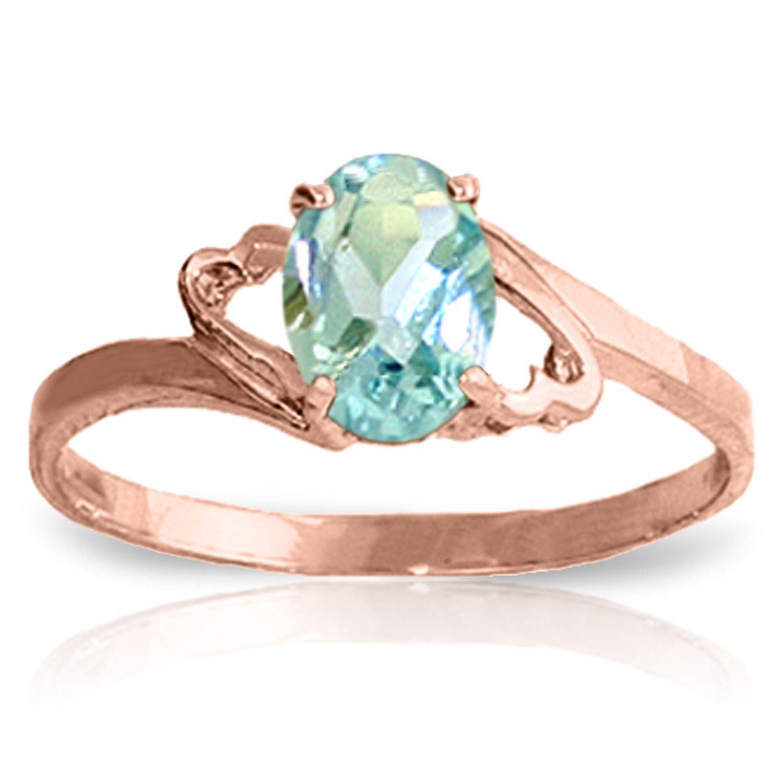 ALARRI 0.75 Carat 14K Solid Rose Gold Rings Natural Aquamarine With Ring Size 5.5
