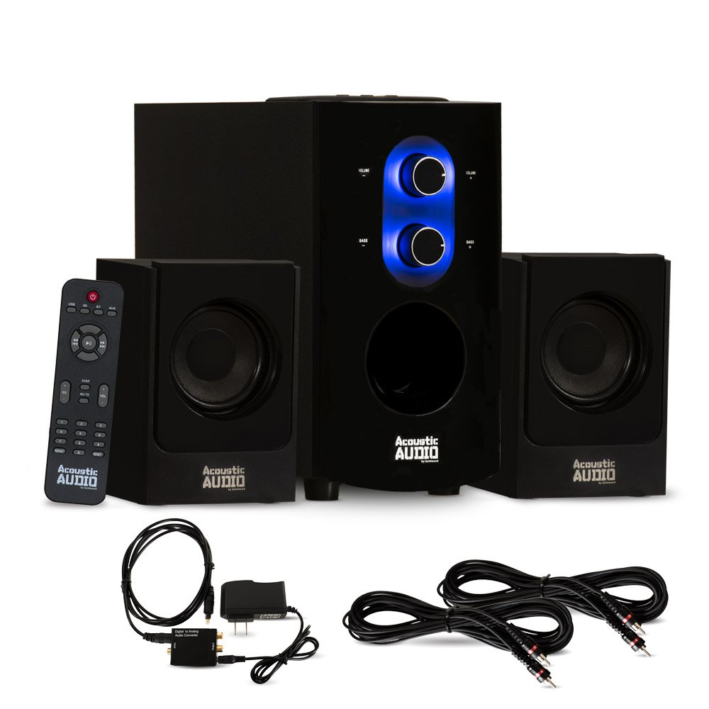 Acoustic Audio AA2130 Bluetooth 2.1 Speaker System with Digital Optical Input and 2 Extension Cables