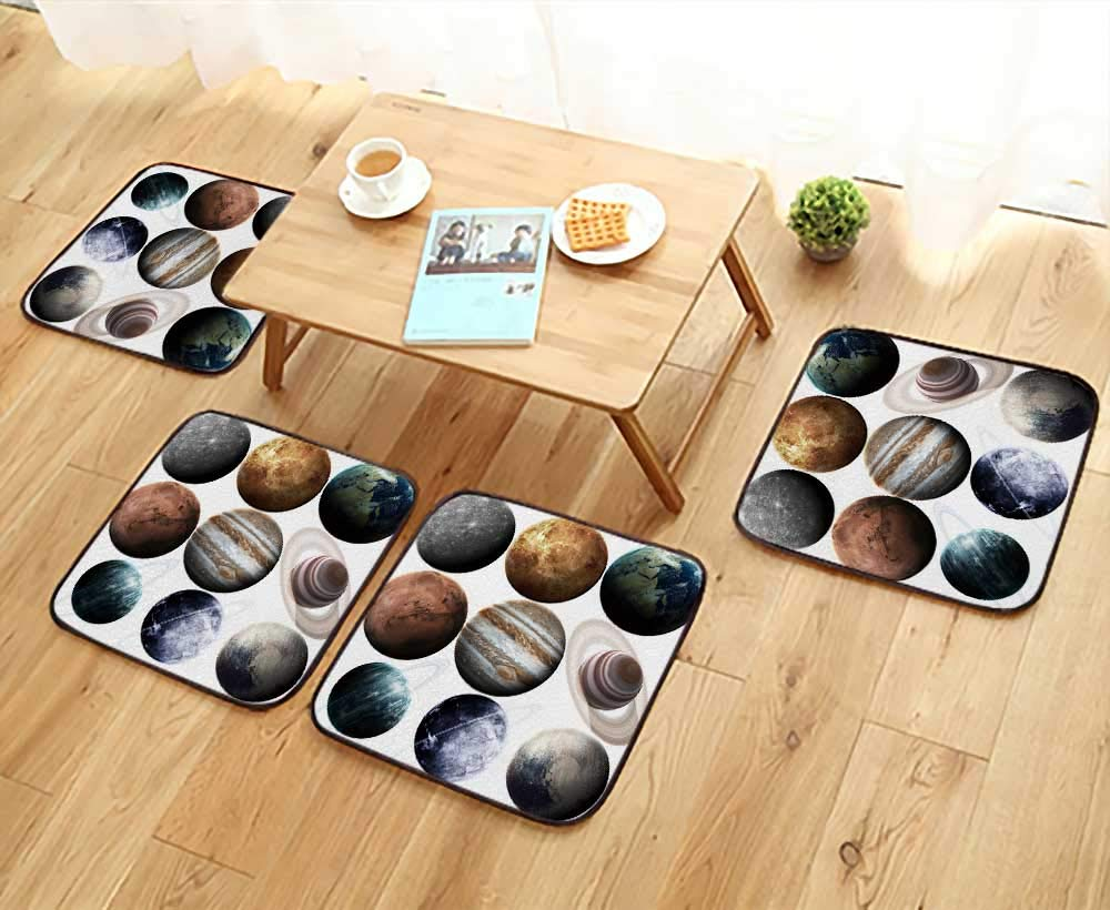 UHOO2018 Fillet Chair Cushion Isolated Planets in The Solar System Element furnished by NASA Suitable for The Chair W13.5 x L13.5/4PCS Set
