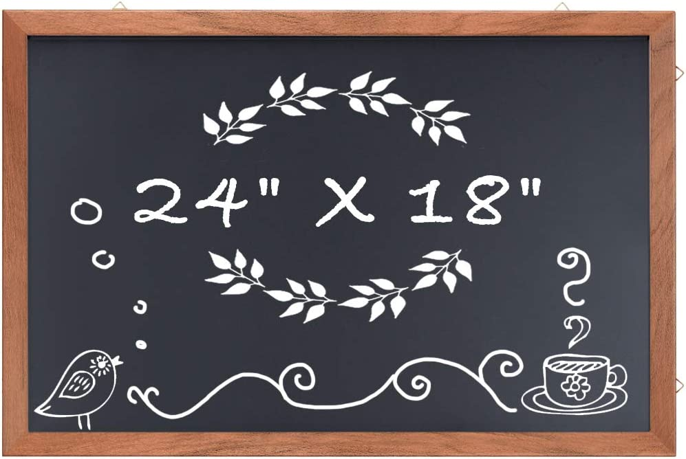 Magnetic Chalkboard Wood Frame, 24 x 18 inches Non-Porous Framed Rustic Chalkboard for Wedding Kitchen Bar Restaurant Menu, Home Decor Magnet Blackboard Wall Mounted Chalkboard