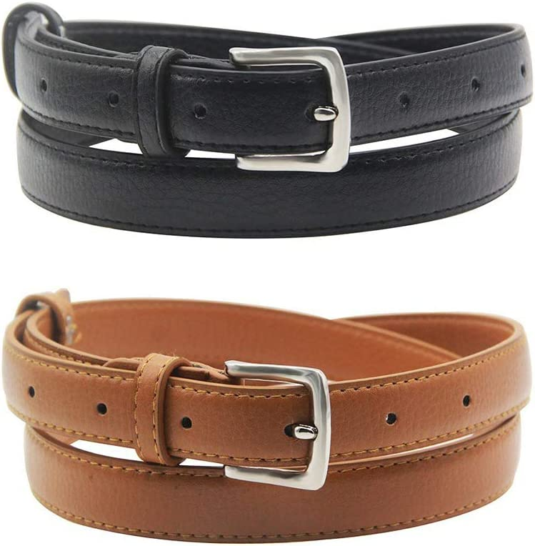 Womens Belt Skinny Leather Solid Color Pin Buckle Simple Waist for Girls Ladies