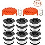 """RONGJU 14 Pack Weed Eater Replacement Parts for Black&Decker AF-100, 12 Pack 30ft 0.065"""" String Trimmer Line Replacement Spools + 2 Pack RC-100-P Caps&Springs (12 Spools+ 2 Caps+2 Springs)"""