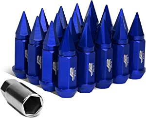 J2 Engineering 7075-T6 Replacement forged Aluminum M12 x 1.5 75mm 20Pcs Spiky Cap Lug Nut + Adapter (Blue)