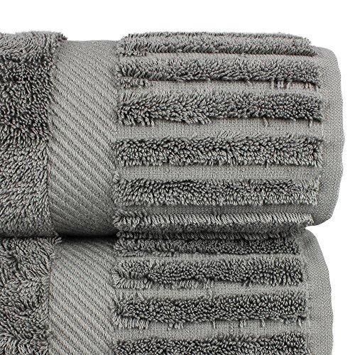 Luxury Hotel & Spa Bath Towel Turkish Cotton, Set of 4 (Gray) by Chakir Turkish Linens (Image #3)