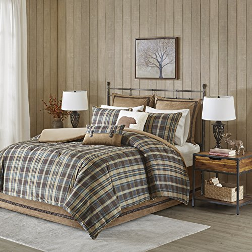 Woolrich Hadley Plaid Comforter Set, Queen, Multicolor (Brown Comforter Plaid)