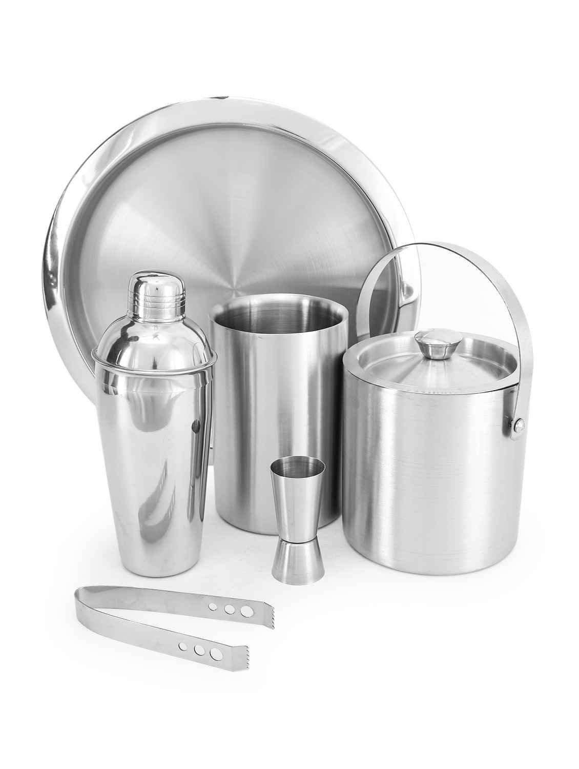 King International Stainless Steel Bar Set Set of 6pcs/Ice Bucket/Ice Tong/Peg MEasure/Cocktail Shaker/Wine Cooler/Bar Tray by King International