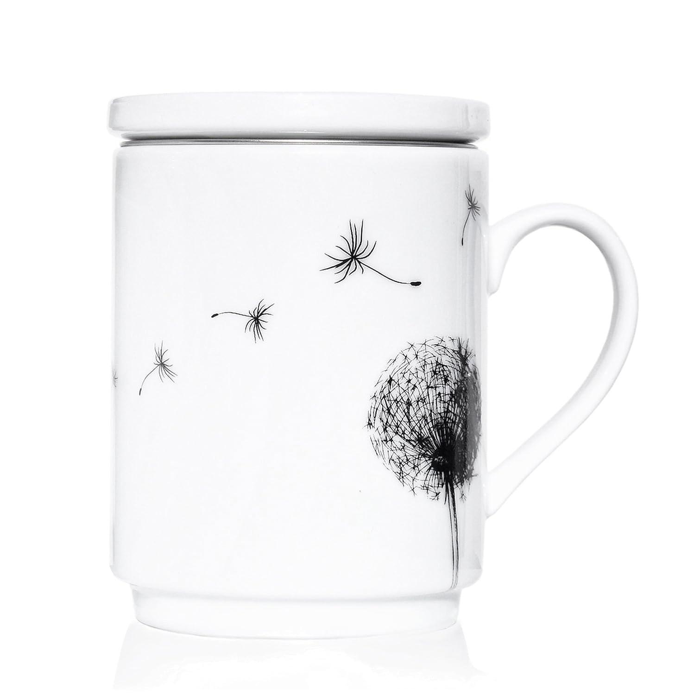 We Love Home - Tasse à thé en porcelaine avec infuseur en acier inoxydable + couvercle 25 cl. style scandinave design Dandelion