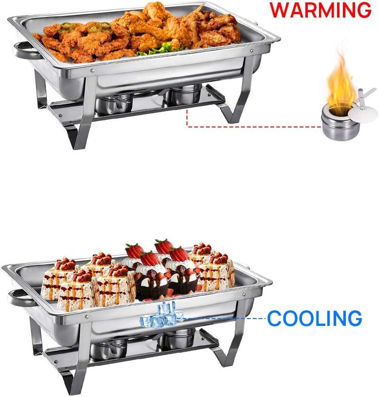 Buffet Pleine Grandeur avec Bac /à Eau Mariages Support de Carburant et Couvercle pour Buffet Bac /à Nourriture F/êtes 6Pcs 9L Chauffe-Plats R/échauds en Acier Inoxydable Chafing Dish