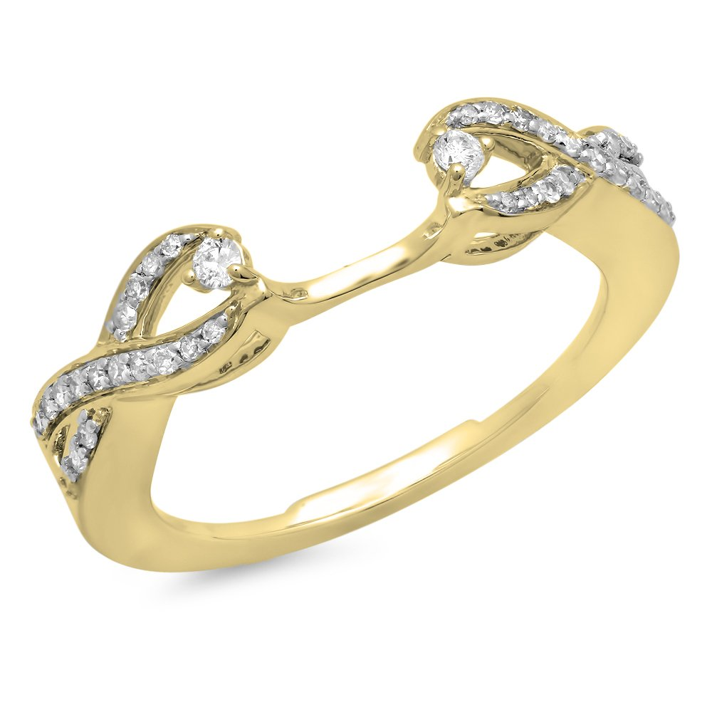 0.25 Carat (ctw) 10K Yellow Gold Round Diamond Split Shank Wedding Enhancer Guard Band (Size 8)