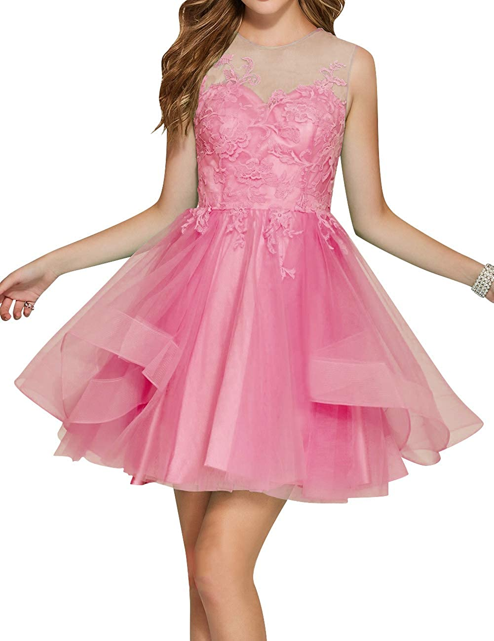 Deep Pink Uther Junior Tulle Prom Homecoming Cocktail Dresses Short Scoop Neck Bridesmaid Dress