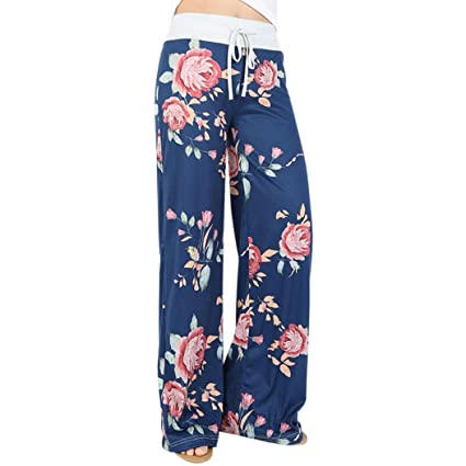 GBSELL Women Hippie Floral Stripe Drawstring Wide Leg Pants Leggings Casual (XL, Blue)