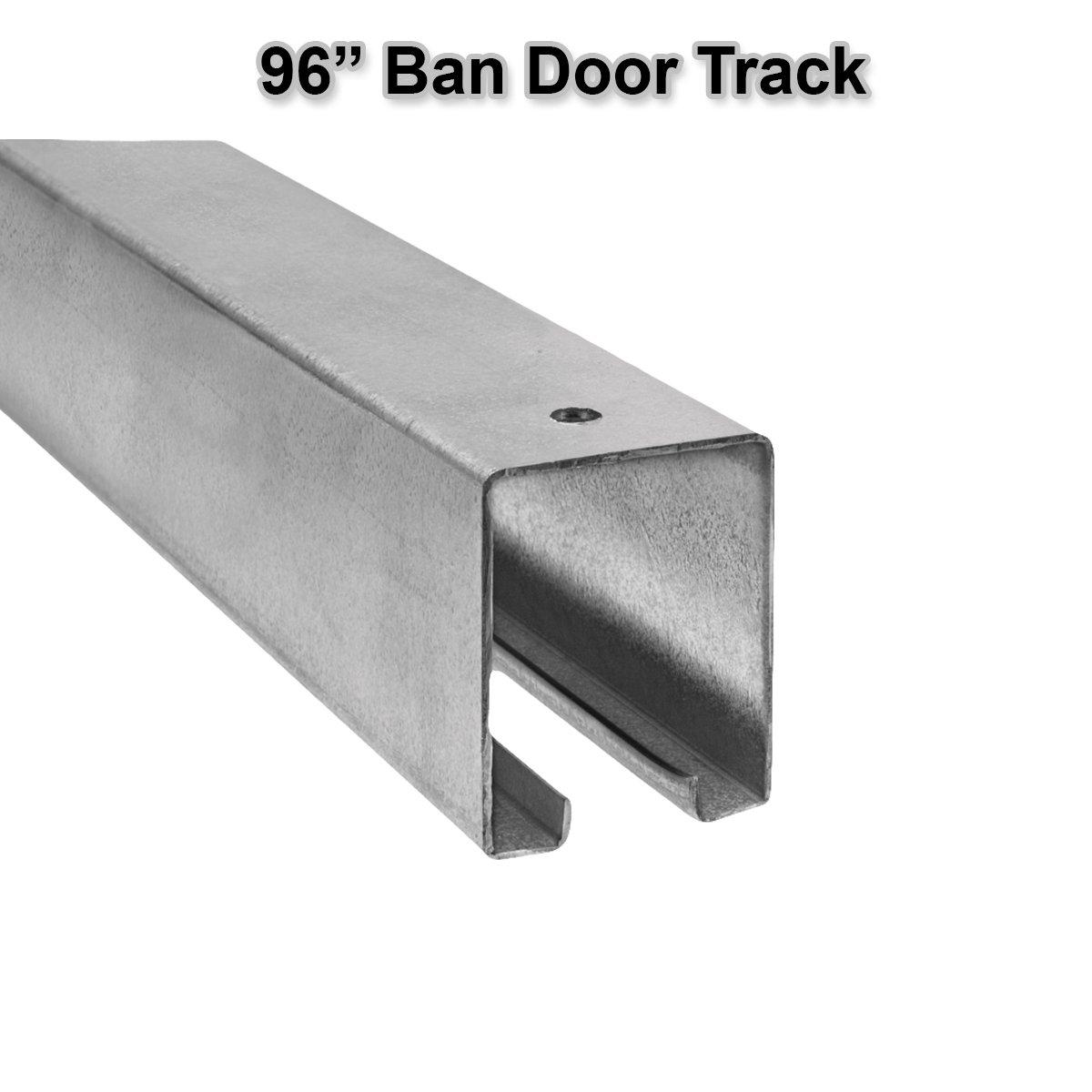 96'' Rail Track Barn Door Hanging Overhead Galvanized Steel Sliding Trolley