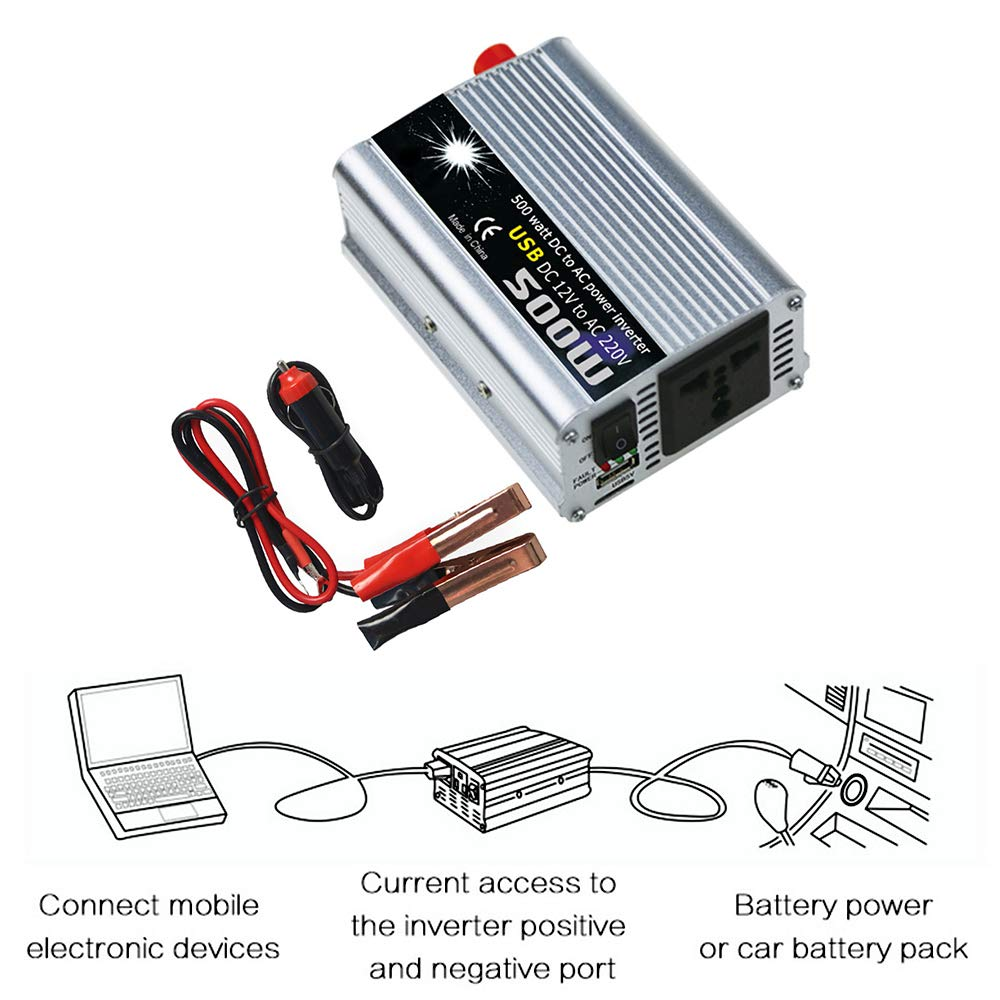 Convertidor 2000W de Onda Modificada Transformador KKmoon Inversor de Corriente de 12v a 220v