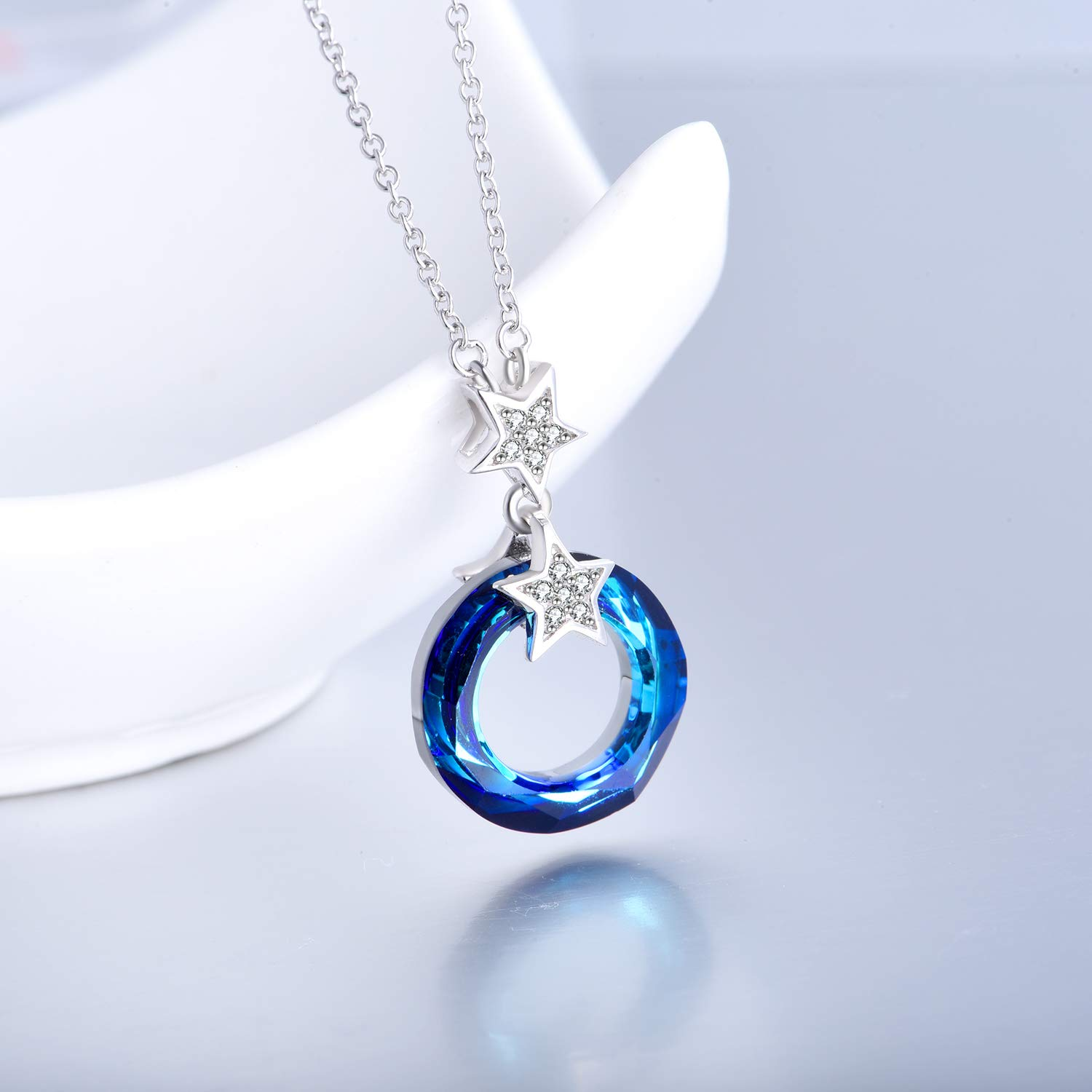 AOBOCO Blue Circle Crystal Necklace 925 Sterling Silver Chain, Multi Color Round Simple Pendants with Swarovski Crystals Fine Jewelry Gift for Women Girls Teens